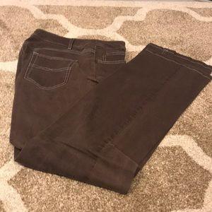 Womyn brown bootcut jeans contrast stitch Sz 12